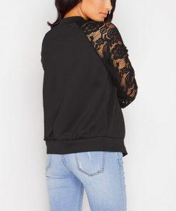 Lace Sleeve Women Basic Coats Long Sleeve Lace Patchwork Transparent Zipper Casual Slim Jacket Coat Bomber Jacket Outwear 1