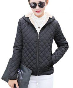 Autumn 2017 Parkas basic jackets Female Women Winter plus velvet lamb hooded Coats Cotton Winter Jacket Womens Outwear coat 1