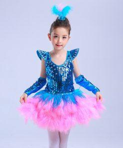 2018 New Ballet Dress For Kids Children Jazz Performance Dresses Tutu Sequins Modern Dancing Costumes Skating Dresses For Girls 1