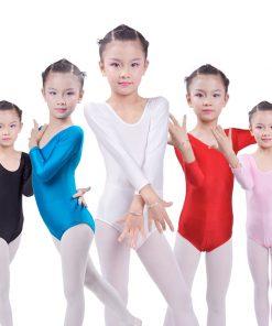Long Sleeve Ballet Leotards for Girls Bodywear Stretch Spandex Children Dance Leotards Turnpakje  justaucorps gymnastique fille