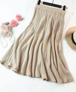 2018 Autumn Women Knitted Long Skirts High Waist A-Line Women Winter Thick Long Skirts Black Brown Midi Skirt Female Saia Faldas 1