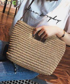 Women's Weave Straw Hand Bag Shoulder Tote Bag Bucket Summer Beach Messenger Bags Women Bag Braided Bolsa Feminina bolso mujer