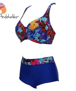 Andzhelika Plus Size Swimwear Sexy High Waist Bikinis Women Deep Soft Cup Swimsuit Floral Print Wide Halter Bathing Suit 1