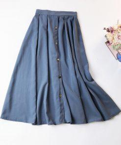 2018 Summer High Waist Women Long Skirts Vintage Cotton And Linen Women Black Skirts Jupe Femme Women Midi Skirt Saia Faldas 1