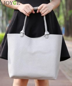 Korea Style 2ps/set Women's Casual Litchi Leather Tote Handbag Shoulder Bag Ladies Messenger Crossbody Bag Composite Bag Wallets 1