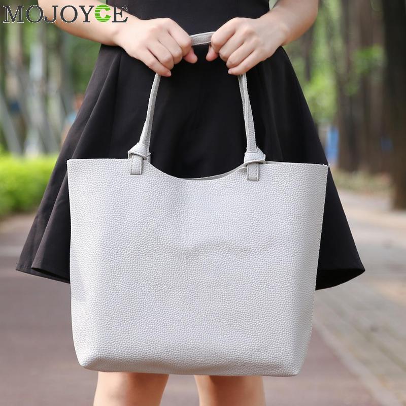 Korea Style 2ps/set Women's Casual Litchi Leather Tote Handbag Shoulder Bag Ladies Messenger Crossbody Bag Composite Bag Wallets 1