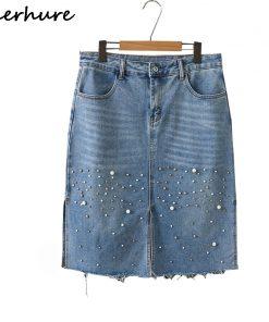 2018 Women Summer Denim Skirts High Waist Pearl Beading Plus Size Women Skirts Jupe Femme Big Size Women Skirt Saia Faldas