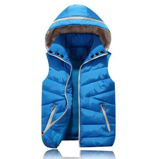2018 NEW Autumn Winter Men Warm Vest Detachable Cap Cotton Femme Sleeveless Jacket Casual Cardigan Waistcoat 3XL 1