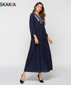 Siskakia Chic Floral Embroidery Maxi Dresses Women High waist Swing Fashion Patchwork long Dress Fall Slim Fit Navy Blue Female 1