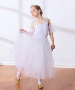 Children Lyrical Ballet Skirt Kids Girls Empire Waist Ballet Dance Dress White Ballerina Costumes Back zipper Dancer Outfit 1