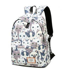 Waterproof Cat Printing Backpack Women School Students Back Pack Female 14-15.6 Inch Laptop Cute Book Bag for Girls 1