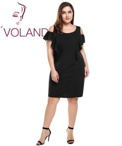 IN'VOLAND Summer Women Black Dress Plus Size Sexy Off Shoulder Elegant Ruffles Party Dresses Beach Dress