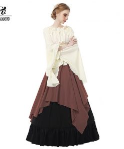 ROLECOS Renaissance Medieval Dresses Gothic Women Costumes Halloween Party Masquerade Costumes Long Dress for Party Weeding  1