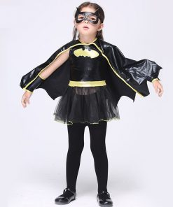 Princess Batgirl Costume Cosplay Batman Girls Clothing Sets Fake Pu Leather Dress Superhero Capes Kids Clothes Set  1