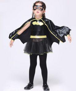 Princess Batgirl Costume Cosplay Batman Girls Clothing Sets Fake Pu Leather Dress Superhero Capes Kids Clothes Set  1