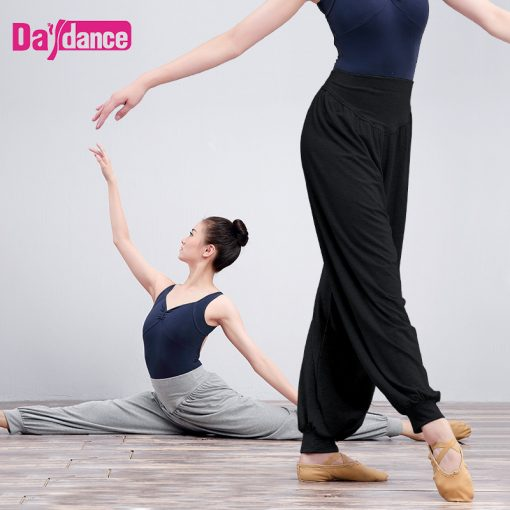 Girls Women Harem Pants Black Cotton Casual Trousers Jogging Yoga Belly Ballet Dance Pants For Training 1