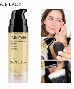 SACE LADY Face Serum 24K Gold Essence Elixir Facial Oil Moisturizing Foil Cream Vitamin E Hyaluronan Acid Hydrating Skin Care