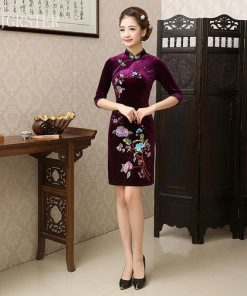 DJGRSTER 2018 Summer Women Chinese Traditional Dress Female Velvet Short Cheongsam Embroidery Evening Party  Chinese Qipao Dress 1