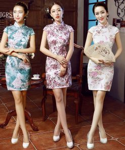 DJGRSTER Fashion Short sleeve Short dress Qipao Dress vintage chinese style restoring cheongsam dress Chinese Traditional dress 1
