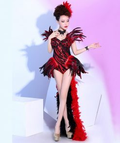 New Nightclubs Female Singers Stage DJ Costume Sexy Red Feathers Bodysuit Dancing Show Jazz Strass Outfit  Performance Wear  1