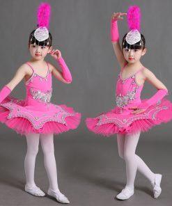 Sequin Bllet Tutu Swan Dance Skirt Girls Platter Tutu Dancing Dress for Kids White Pink Children Tutu Danse Classique Enfant 1