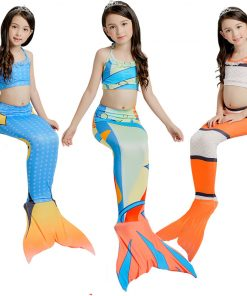 3PCS Girls Mermaid-Tail Costume Kids Mermaid Tails For Lovely Children Halloween Fanny Dress Swimmable Mermaid Cosplay Clothes 1