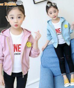 2018 New Pattern Children's Garment Girl Casual Coat Spring Clothes Child Cartoon Printing Children Even Hat Windbreaker jackets
