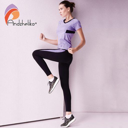 Andzhelika 2018 Women Yoga Legging Elasticity Waist Sport Workout Trousers Sexy Gym Fitness Pants Jogging Clothes Wear Sportwear 2