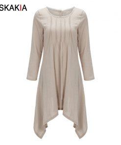 Siskakia Autumn Fall 2018 basic dresses for women solid brief casual Asymmetrical cut long sleeve T shirt dresses Plus size 4XL