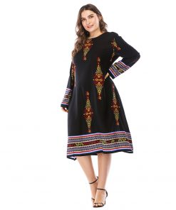 Siskakia Vintage Print A line dress Plus size Spring Autumn 2018 elegant ladies basic dresses big sizes midi dress Navy 6Xl 5XL 1