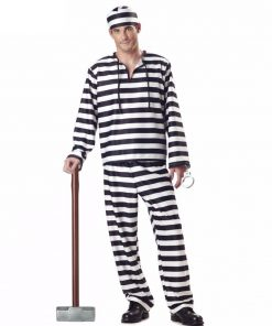 Prisoner Cosplay Costume For Halloween Men Women Funny Party Fancy Adult Black White Stripe  Carnival Festival  Clothes 1