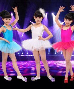 White red pink  blue Ballet Dress For Children Gauze Gymnastics Leotard For Girls Kids Gown