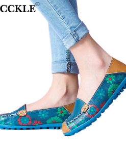 MCCKLE Printing Loafers Woman Genuine Leather Moccasins Plus Size Women Casual Shoes Female Flats Shoe Fashion Slip On Footwear