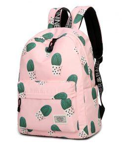 Waterproof Fairy Ball Plant Printing Backpack Women Cactus Bookbag Cute School Bag for Teenage Girls Kawaii Pink Knapsack 1