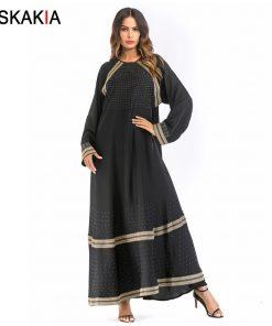 Siskakia Muslim Women Dressing gowns Golden Ribbon embroidery patchwork rhinestone design musulman abaya kaftans and Jubah UAE