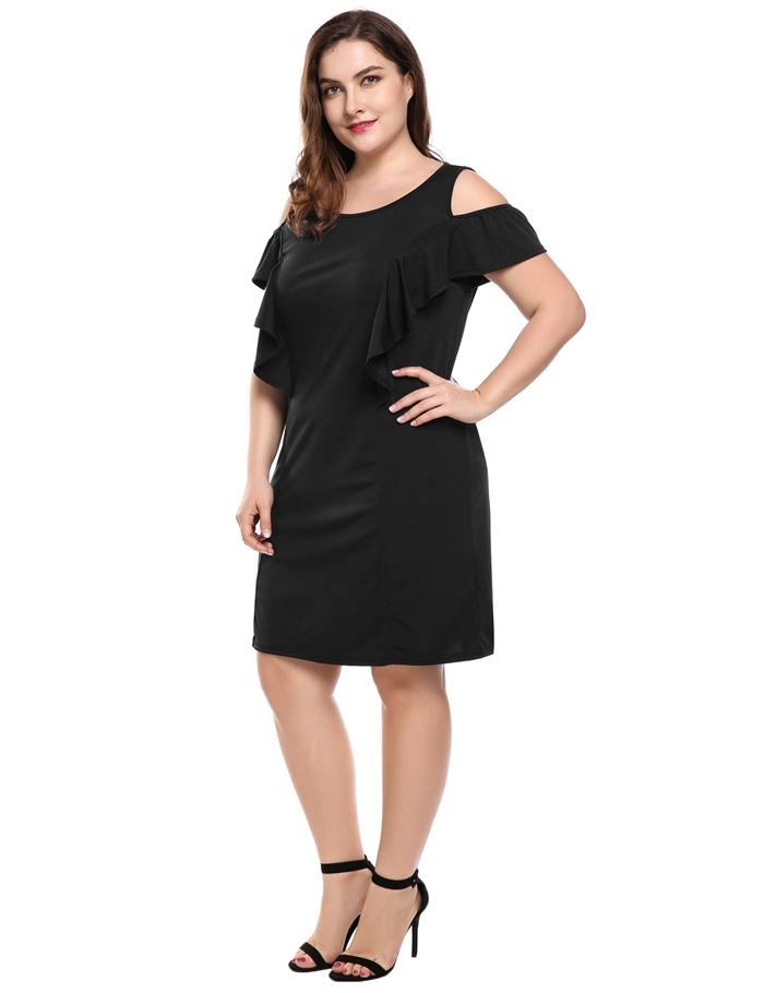 IN VOLAND Summer Women Black Dress Plus Size Sexy Off Shoulder Elegant  Ruffles Party Dresses c8487107e524