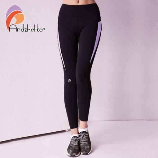Andzhelika 2018 Women Yoga Legging Elasticity Waist Sport Workout Trousers Sexy Gym Fitness Pants Jogging Clothes Wear Sportwear