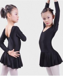 Long sleeved Spandex Gymnastics Leotard Swimsuit Ballet Dancing Dress Kids Dance Wear Skating Dresses for Girls  1