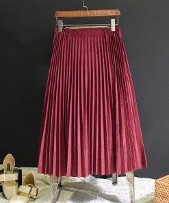 2018 New Fashion Autumn Women Suede Skirt Pink White Long Pleated Skirts Womens Saias Midi Faldas Vintage Women Midi Skirt 1