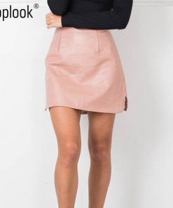 Toplook PU Leather Office Pencil Skirts Womens High Waist Winter Sexy Vintage OL Solid A Line Mini Bodycon Skirt Plus Size 2016 1