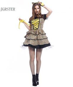 DJGRSTER 2018 Halloween Costumes Women Dress Leopard Print Fashion Halloween Costume Party Uniforms Dress+Headdress 2 Pcs/set 1
