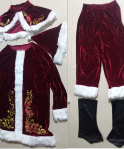 New Arrival Fancy Santa Claus Costume for Adult Old Man Christmas Cosplay Plus Size Winter Suit Set 1