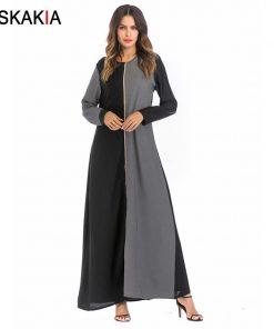 Siskakia Women Long Dress Autumn 2018 fashion Contrast color block golden zipper design maxi Dresses round neck long sleeve Fall