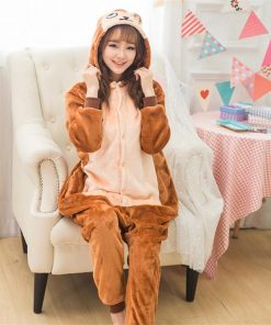 Monkey Pajama Set Couple Kigurumi Sleepwear Animal Cosplay Costume Women Adult Onesie Party Suit Warm Brown Cute Jumpsuit  Girls 1