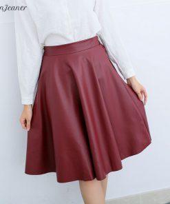 Danjeaner Women Autumn Winter Vintage High Waist PU Leather Skirts Female Casual Knee-Length Elastic Waist Midi Skirts