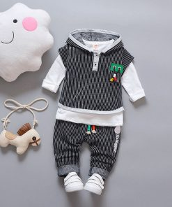 Infant Boy Clothes Children 2018 Spring 3pcs Baby Boys Clothing Sets Striped Hooded Toddler Clothes Sets Boys Set 1