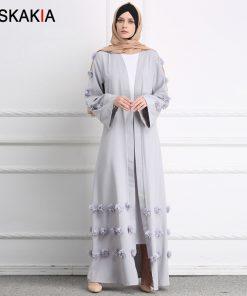 Siskakia Muslim Cardigan Abaya 3D Flower design women Gowns Solid fashion Ramadan Robes Musulman kaftans and Jubah UAE Eid Adha