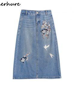 2018 Vintage Floral Embroidery Women Skirts Plus Size Women Autumn 4XL Long Skirts Femme Women High Waist 5XL Denim Skirts