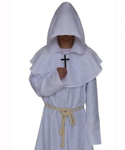 Medieval Monk Cosplay Costumes Wizard Hooded Robe Friar Priest disguise Church Cowl Apparel Men Adults Fancy 1
