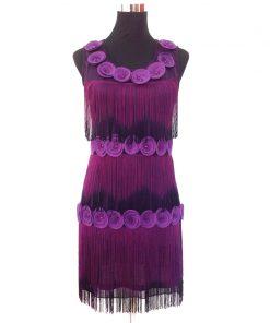 Women 1920s Beaded Fringe Scalloped Petal Gatsby Flapper Dress Costume Tiered Tassels Appliques Flower Summer Party Dress  1